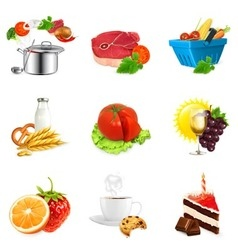 Food concepts isolated set vector image vector image