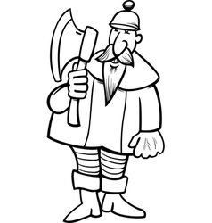 knight with axe cartoon coloring page vector image