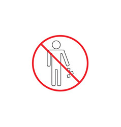 No littering line icon no trash red prohibited vector