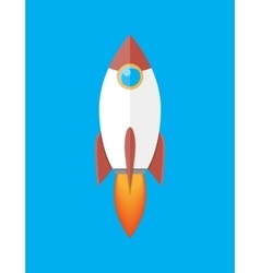 Space rocket isolated on blue vector image