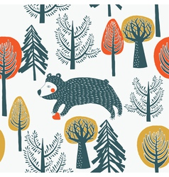 bear in the forest vector image vector image