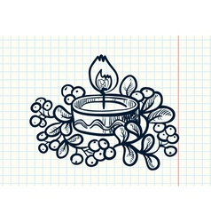 candle with mistletoe vector image vector image