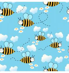 flying bees background vector image