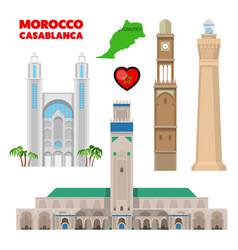 morocco casablanca travel set with architecture vector image