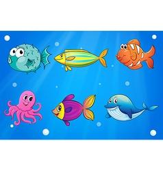 Sea creatures under the deep sea vector image