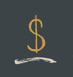 dollar sign icon brush lettering grunge vector image vector image