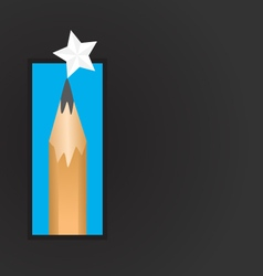 Pencil and star background vector image vector image