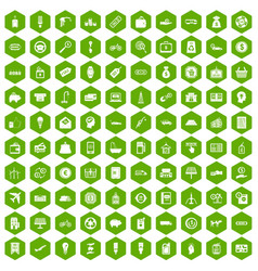 100 economy icons hexagon green vector