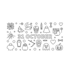 31 october holiday horizontal outline vector image