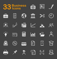 33 business icons vector image
