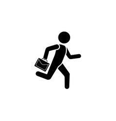 A man is running with a briefcase vector