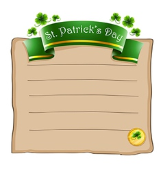 A paper with a st patricks day signage vector