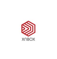 Abstract arrow in hexagon polygon box shape logo vector
