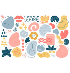 abstract doodle elements trendy modern hand drawn vector image