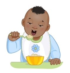 African american baby boy with spoon and plate vector image