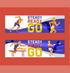 athlete man set banners vector image