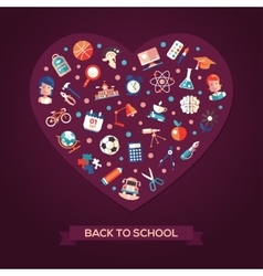 Back to school flat design icons heart composition vector