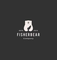 bear fish salmon logo hipster retro vintage icon vector image