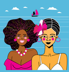 beautiful african girls vector image