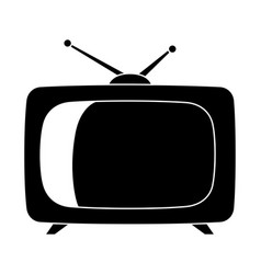 black vintage tv silhouette isolated on white vector image