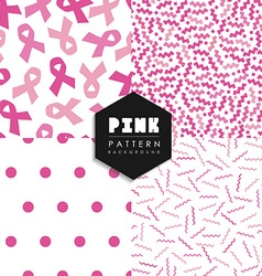 Breast cancer pink geometry seamless pattern set vector image