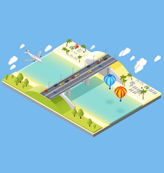 Bridge and beach resort vector