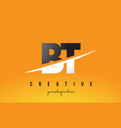 Bt b t letter modern logo design with yellow vector