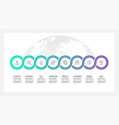 business process timeline infographics with 8 vector image