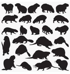 capybara beaver animal silhouettes vector image