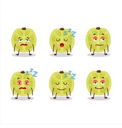 Cartoon character slice amla with sleepy vector