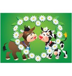 Cartoon kissing cows vector