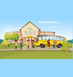 cartoon teen kids near school bus vector image