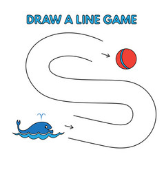 cartoon whale draw a line game for kids vector image