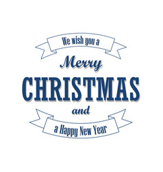 christmas text on ribbon merry vector image
