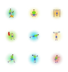 Classes in gym icons set pop-art style vector image