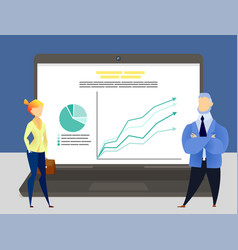colleagues communicate on computer screen vector image