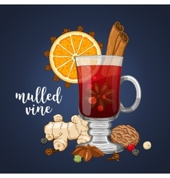 composition on dark with mulled wine vector image
