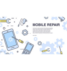 Concept of mobile phone repair horizontal banner vector