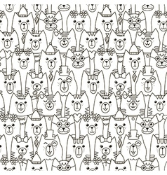 Cute cats seamless pattern vector