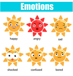 cute kawaii sun character emoji emoticons vector image