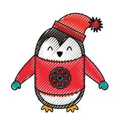 cute scribble christmas penguin cartoon vector image