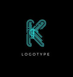 Cyber letter k for digital technology logo concept vector