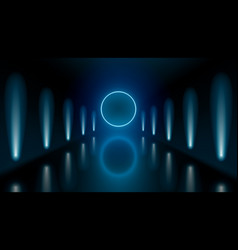 dark hall room with neon lights and circle light vector image
