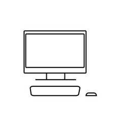 desktop computer with monitor icon vector image