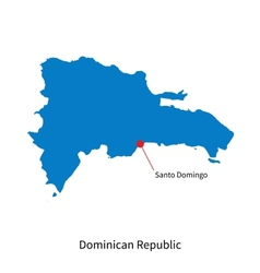Detailed map of Dominican Republic and capital vector