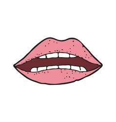 digitally drawn lips design hand drawing style vector image