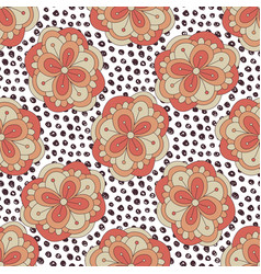 doodle floral pattern autumn seamless background vector image