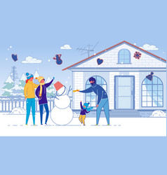 family mother father and children make snowman vector image