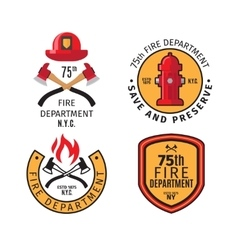 Firefighter emblems and badges vector image