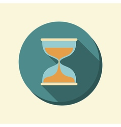 Flat circle web icon hourglass waiting vector